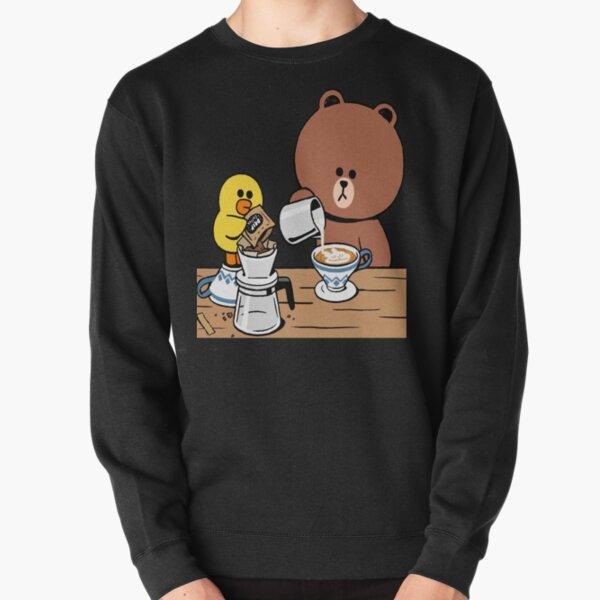 Cute brown bear cony bunny rabbit coffee lovers Pullover Sweatshirt