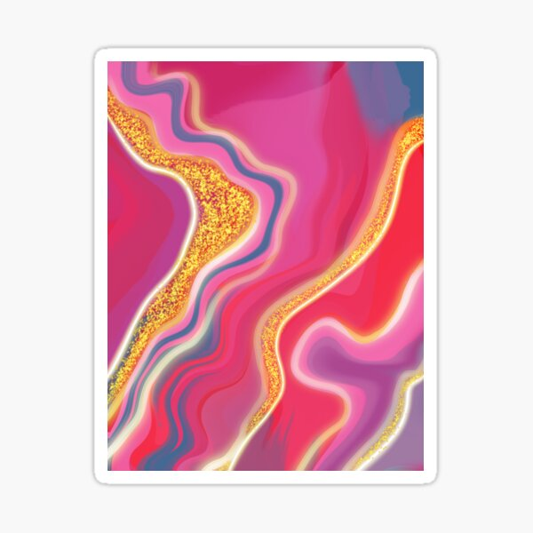 Stone Cold Pink - Abstract Digital Painting Sticker