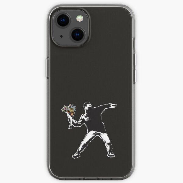 Banksy graffiti Protest anarchist throwing flowers Thrower Make Art not war on black background HD HIGH QUALITY ONLINE STORE iPhone Soft Case