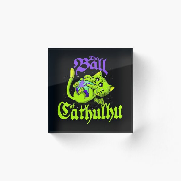 Cute Kawaii Cathulhu Eating the World Cat Cthulhu Necronomicon funny kitty kraken Acrylic Block