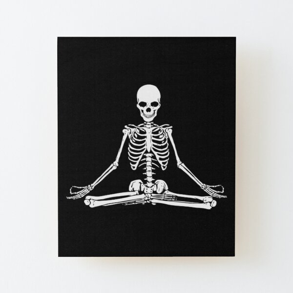 Meditating Skeleton Wood Mounted Print