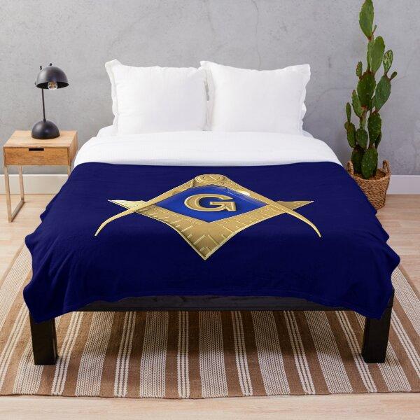 Freemason Gold Square & Compass Blue Background Masonic Throw Blanket