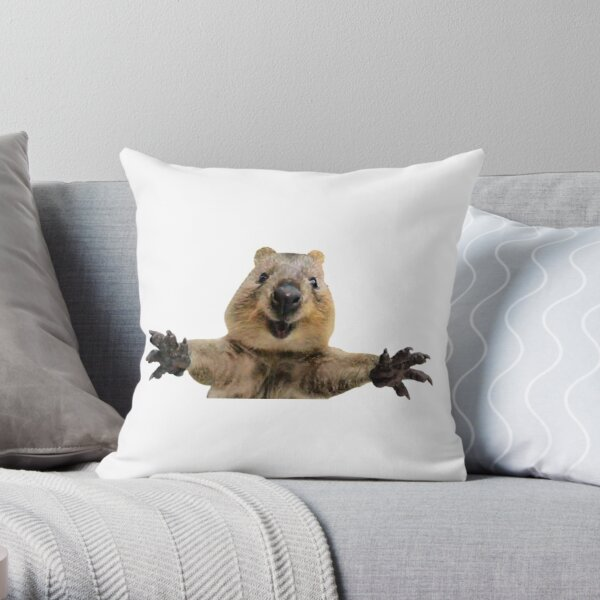 Happy quokka welcoming hug Throw Pillow