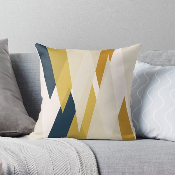 Triangular Abstract in Mustard Yellows, Navy Blue, and Blush Tones. Minimalist Geometric Throw Pillow