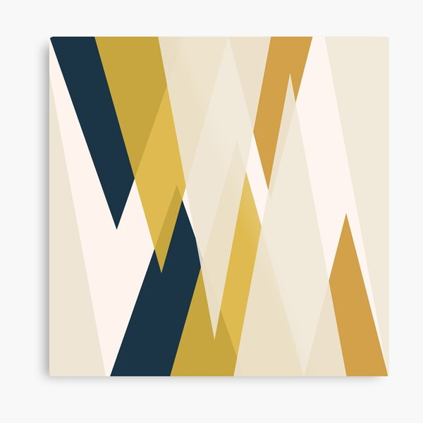 Triangular Abstract in Mustard Yellows, Navy Blue, and Blush Tones. Minimalist Geometric Metal Print