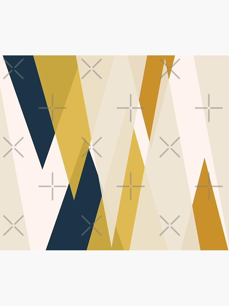Triangular Abstract in Mustard Yellows, Navy Blue, and Blush Tones. Minimalist Geometric by kierkegaard