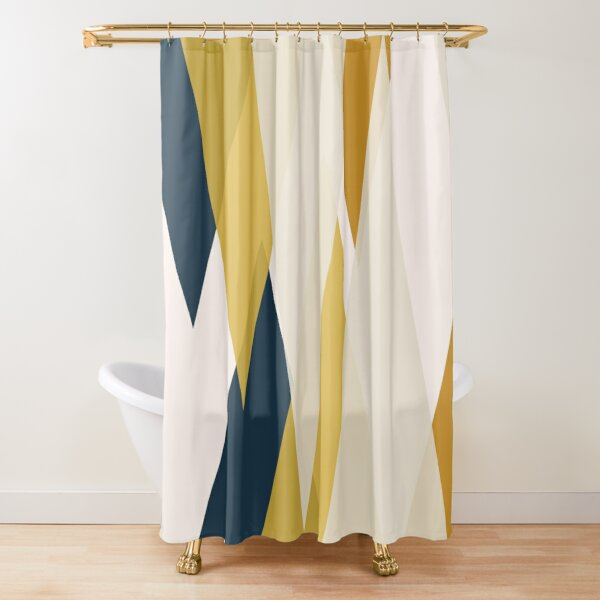 Triangular Abstract in Mustard Yellows, Navy Blue, and Blush Tones. Minimalist Geometric Shower Curtain