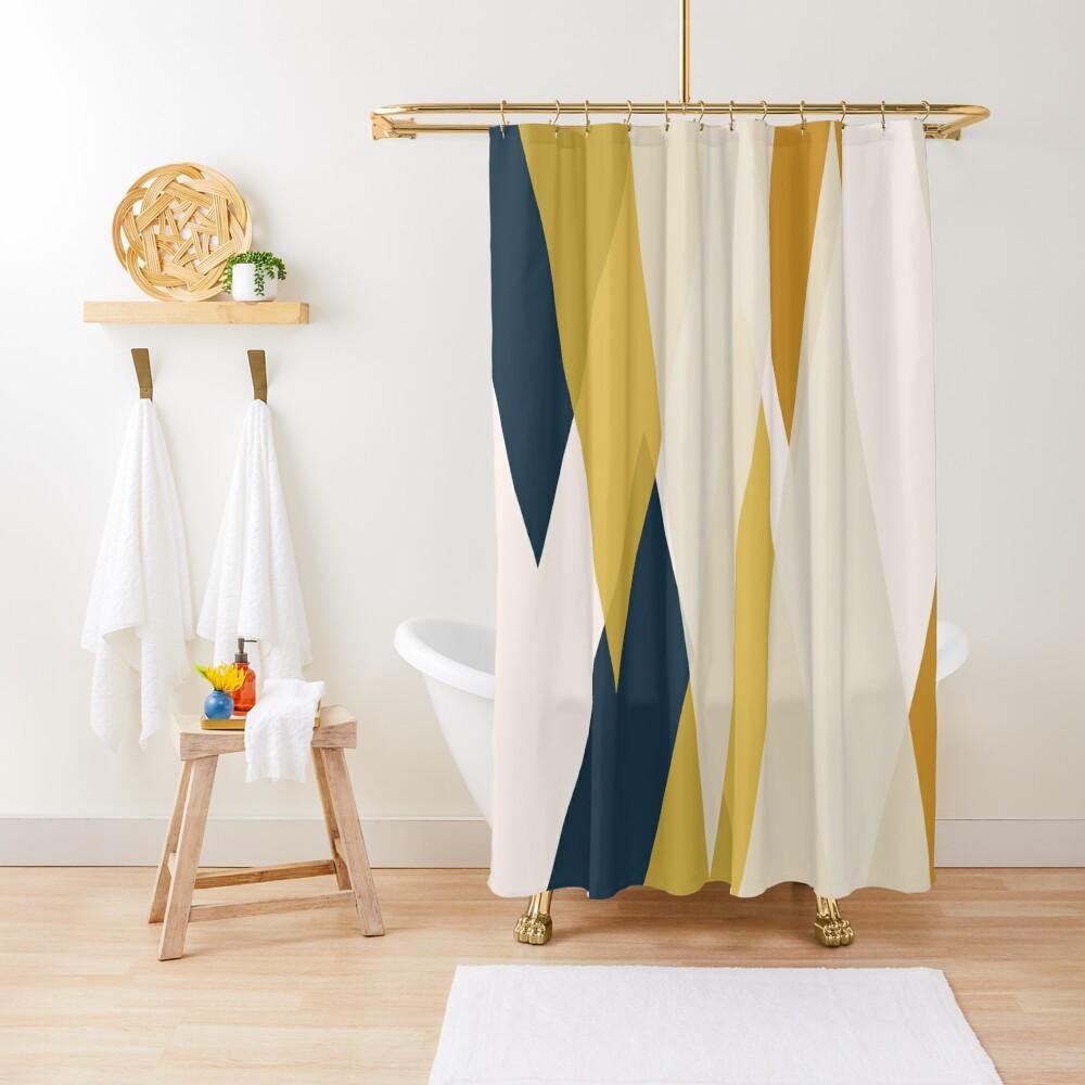 Triangular Abstract in Mustard Yellows, Navy Blue, and Blush Tones. Minimalist Geometric Shower Curtain