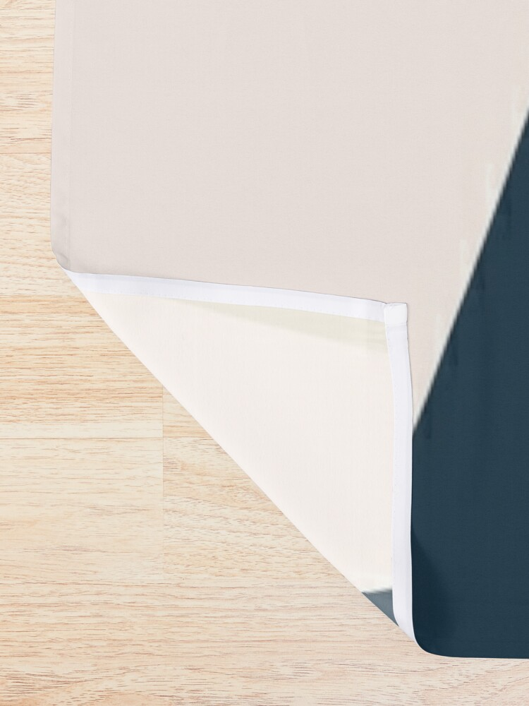 Alternate view of Triangular Abstract in Mustard Yellows, Navy Blue, and Blush Tones. Minimalist Geometric Shower Curtain