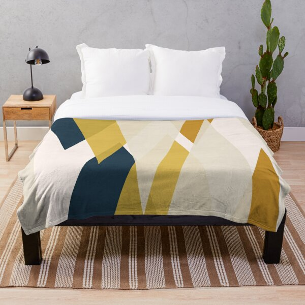 Triangular Abstract in Mustard Yellows, Navy Blue, and Blush Tones. Minimalist Geometric Throw Blanket