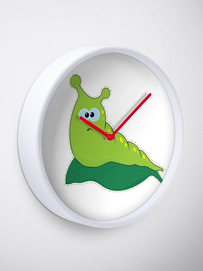 Green Funny Caterpillar Cartoon Clock By Katrinvr Redbubble
