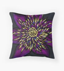 Purple Whirly Flower Throw Pillow