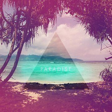 Paradies // Hipster Dreieck Strand Foto verblasst Retro von hocapontas