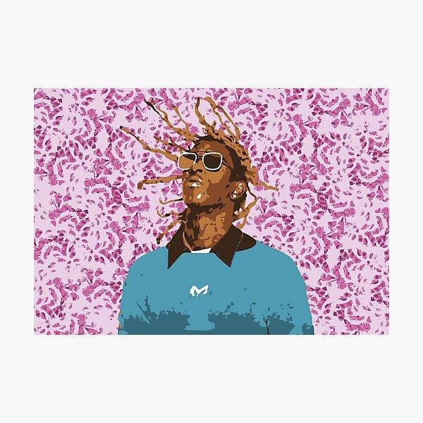 Drawn Young Thug on Petals Photographic Print