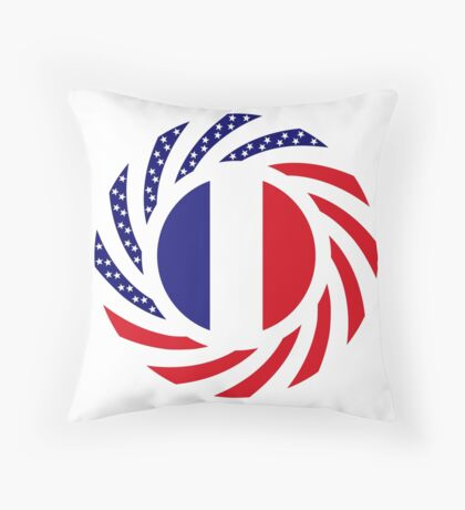 French American Multinational Patriot Flag Series Throw Pillow
