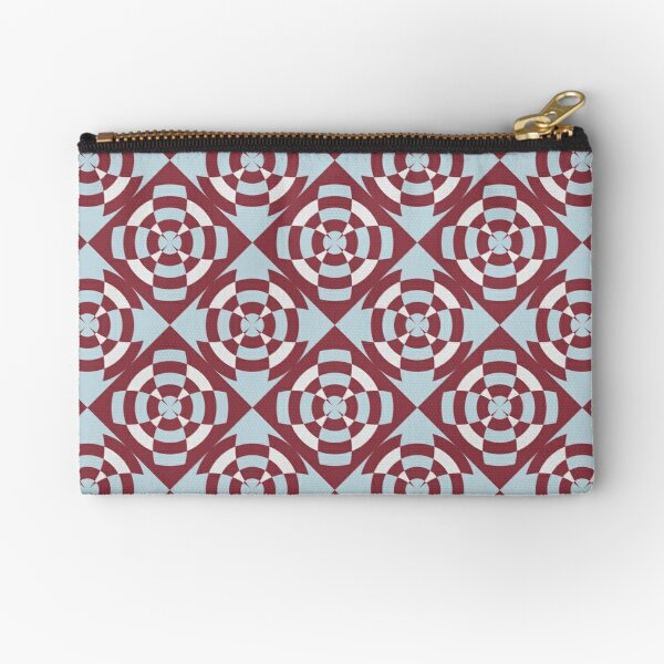 Simple geometric stripe flower red and blue Zipper Pouch