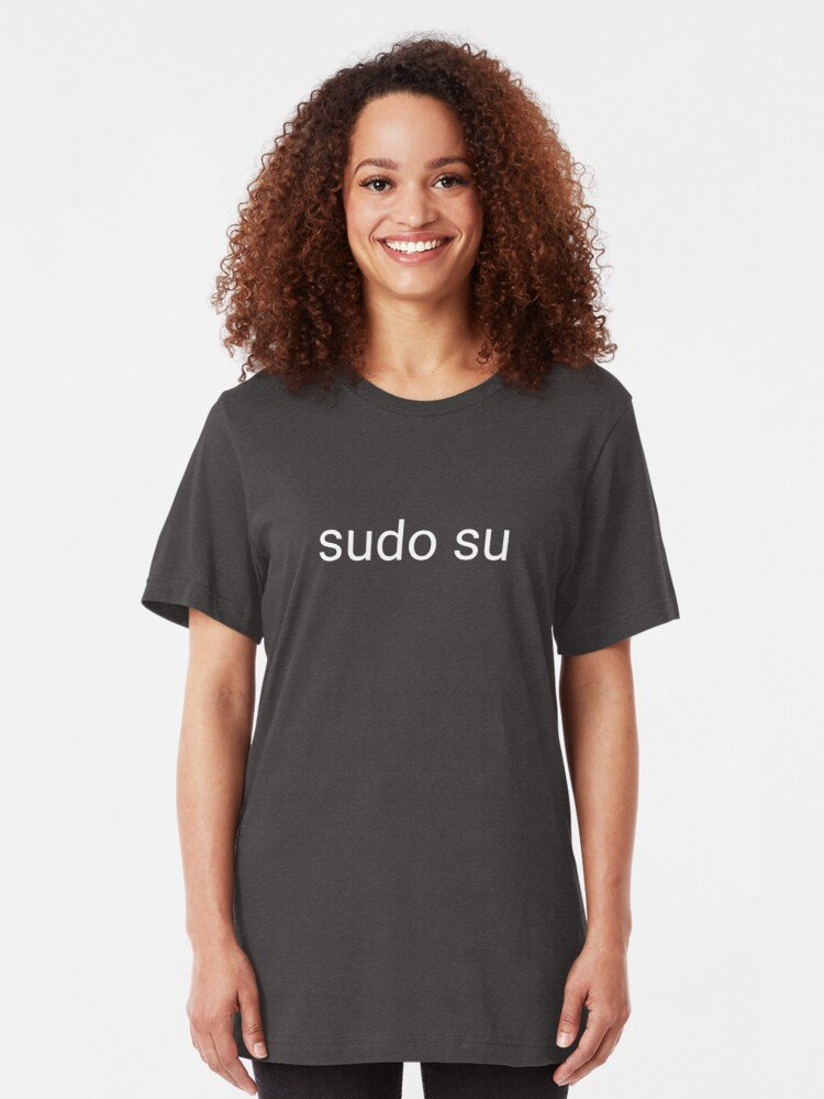 Alternate view of sudo su command Slim Fit T-Shirt