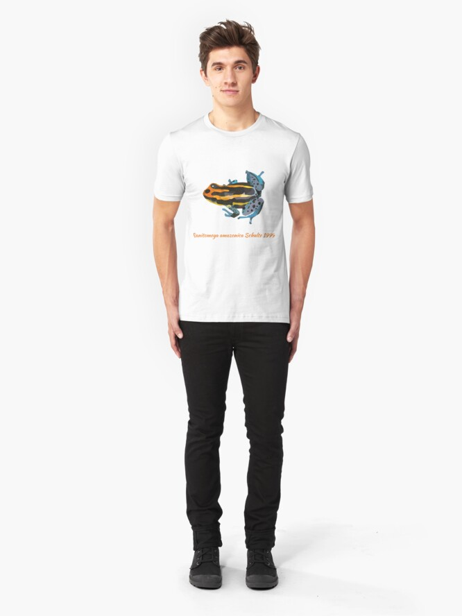 Alternate view of Orange and blue poison dart frog portrait drawing Slim Fit T-Shirt