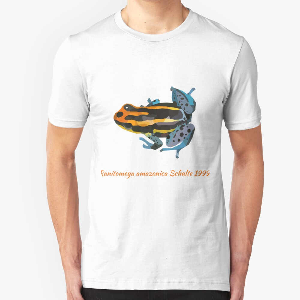 Orange and blue poison dart frog portrait drawing Slim Fit T-Shirt