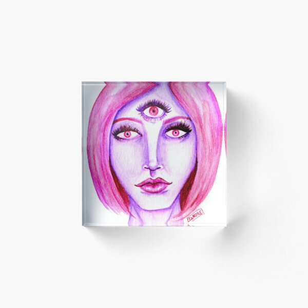 Pink Hair, Purple Skin Acrylic Block