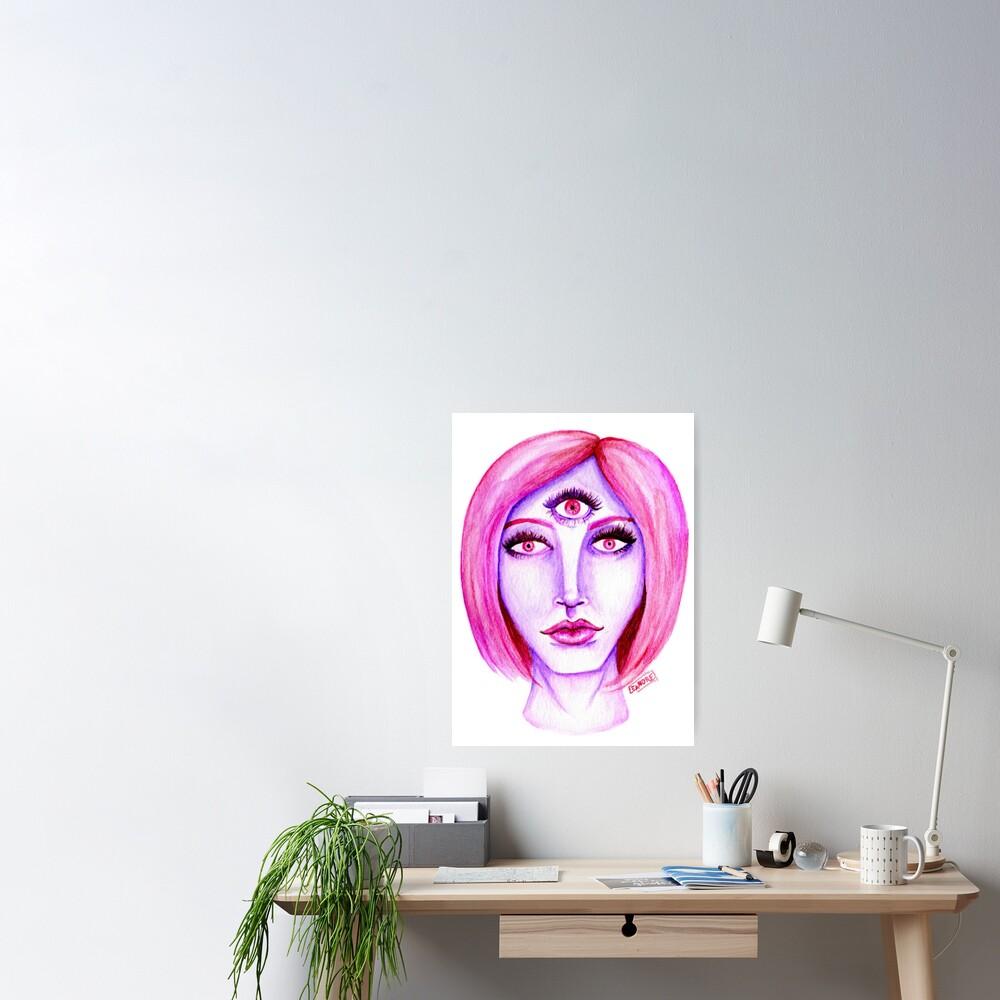Pink Hair, Purple Skin Poster