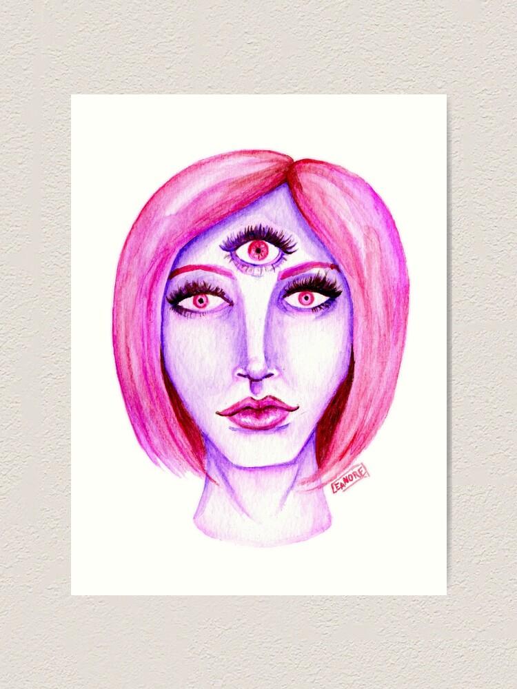 Alternate view of Pink Hair, Purple Skin Art Print
