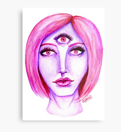 Pink Hair, Purple Skin Metal Print