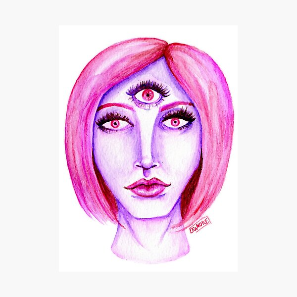 Pink Hair, Purple Skin Photographic Print
