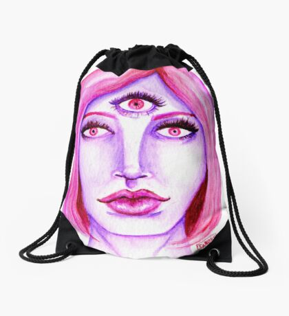 Pink Hair, Purple Skin Drawstring Bag