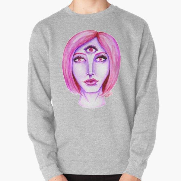 Pink Hair, Purple Skin Pullover Sweatshirt