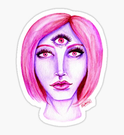 Pink Hair, Purple Skin Glossy Sticker