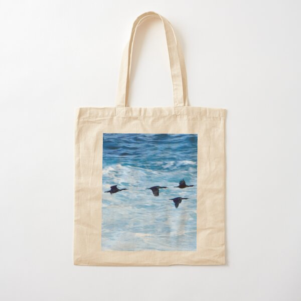 Cormorants  Skimming the Waves off Inishmore Cotton Tote Bag