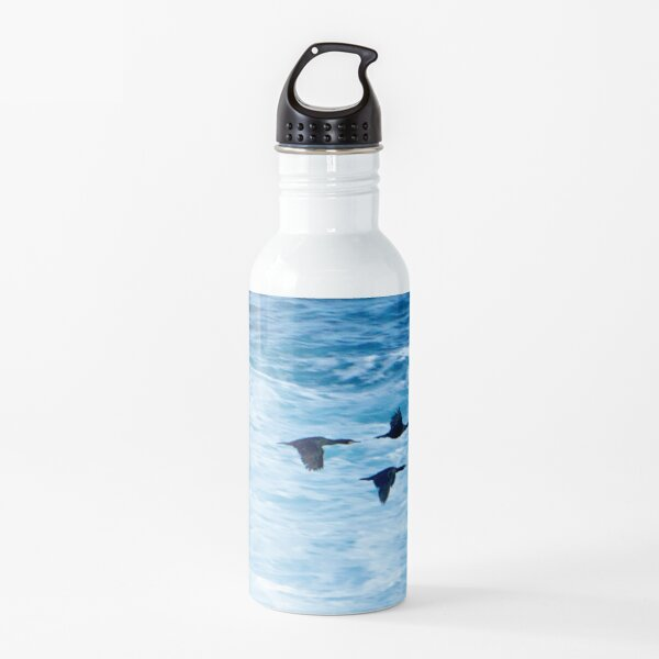 Cormorants  Skimming the Waves off Inishmore Water Bottle