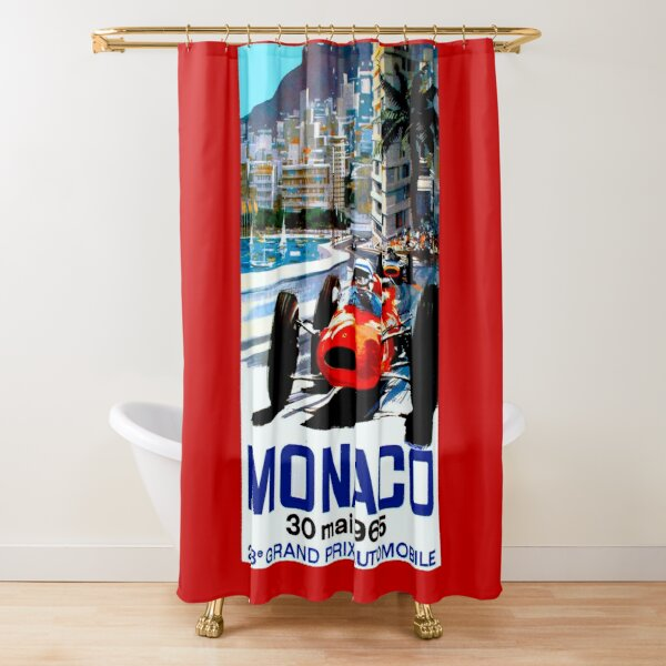 """MONACO GRAND PRIX"" Vintage Auto Racing Print Shower Curtain"
