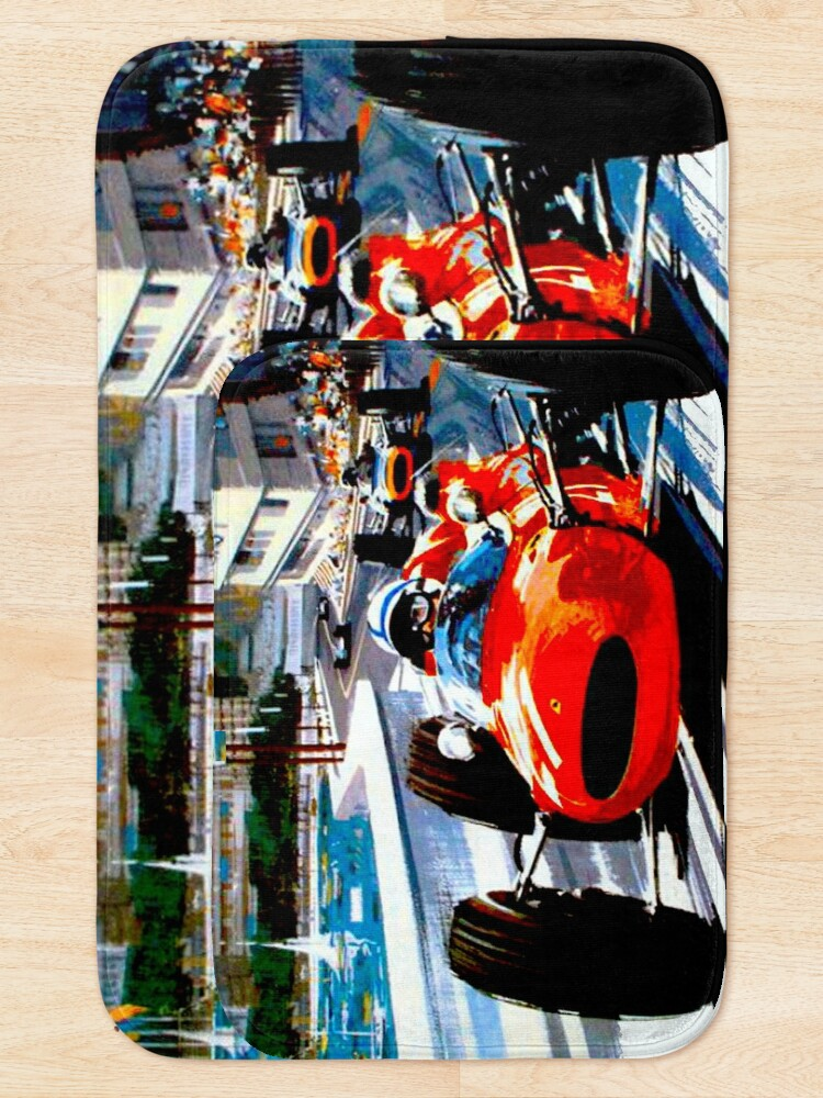 """Alternative Ansicht von """"MONACO GRAND PRIX"""" Vintage Auto Racing Print Badematte"""