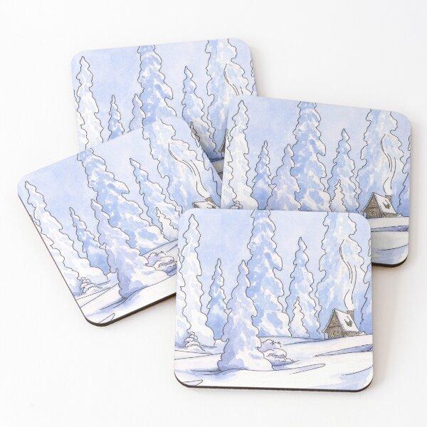 Winter Cabin Coasters (Set of 4)