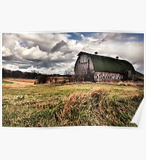 Barn Structure in a Field of Grass Poster