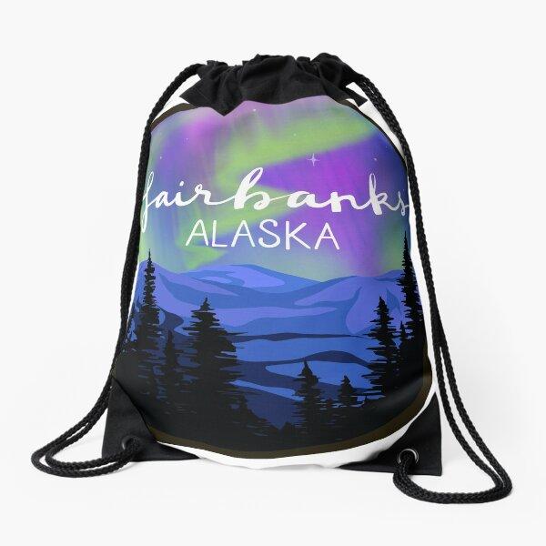 Fairbanks, Alaska - NORTHERN LIGHTS Drawstring Bag