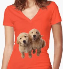 Puppies! Sale!!! Women's Fitted V-Neck T-Shirt