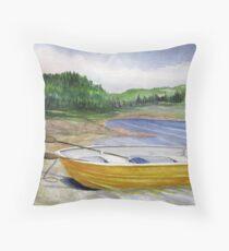 Yellow Row boat at Neys Provincial park - Ontario Throw Pillow