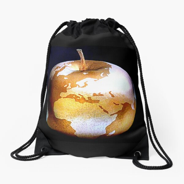 World Apple Drawstring Bag