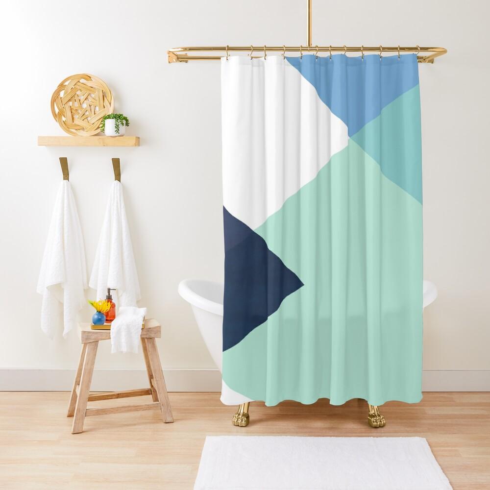 Geometrics - seafoam & blue concrete Shower Curtain