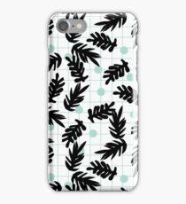 Dotty - black and mint modern pattern grid modern pattern print design urban brooklyn  iPhone Case/Skin