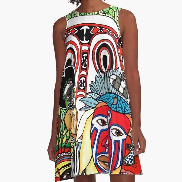 #258 - Unique PNG Culture I - Artist Nathalie Le Riche A-Line Dress