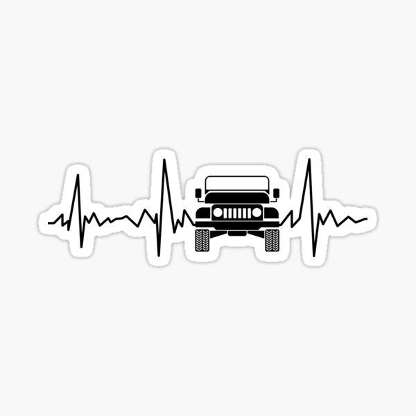 Off Road 4X4 Heartbeat Jeep Car Pulse Line Sticker