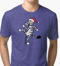 Christmas Zebra Tri-blend T-Shirt