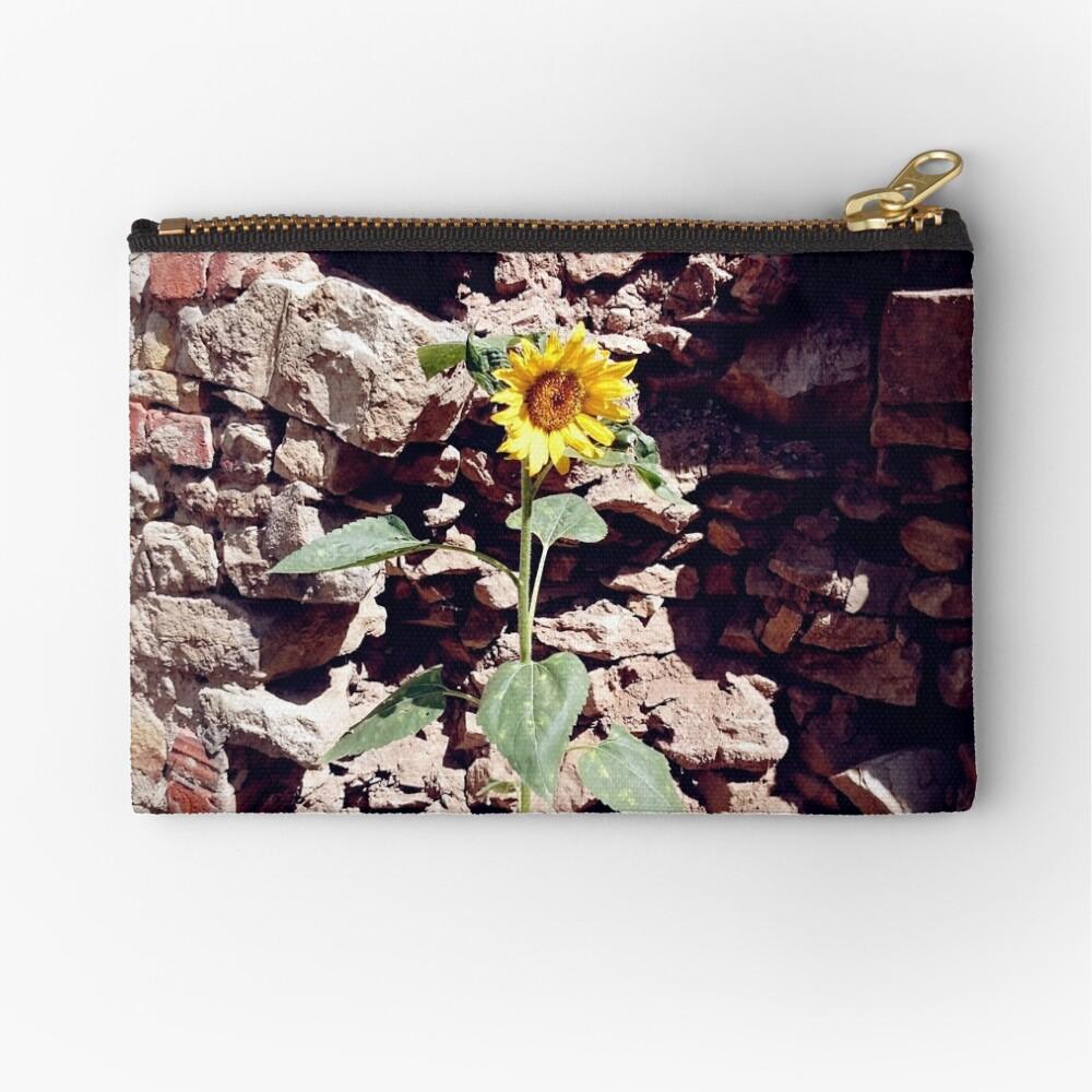 Sonnenblume vor Burg-Mauer Täschchen