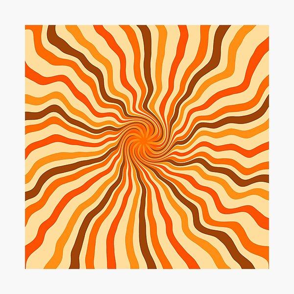 Retro 70s hippies swirl twist   old school colors Photographic Print
