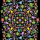 Colorful monsters posing for a terrific pattern design by Zoo-co