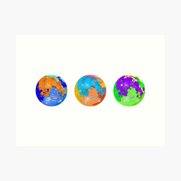 Saturated Moons Triptych Art Print